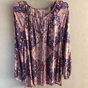 Women's Lucky Brand XL print blouse
